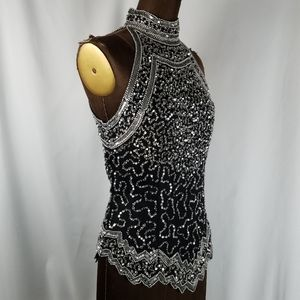 Black silver Silk beaded halter blouse size small